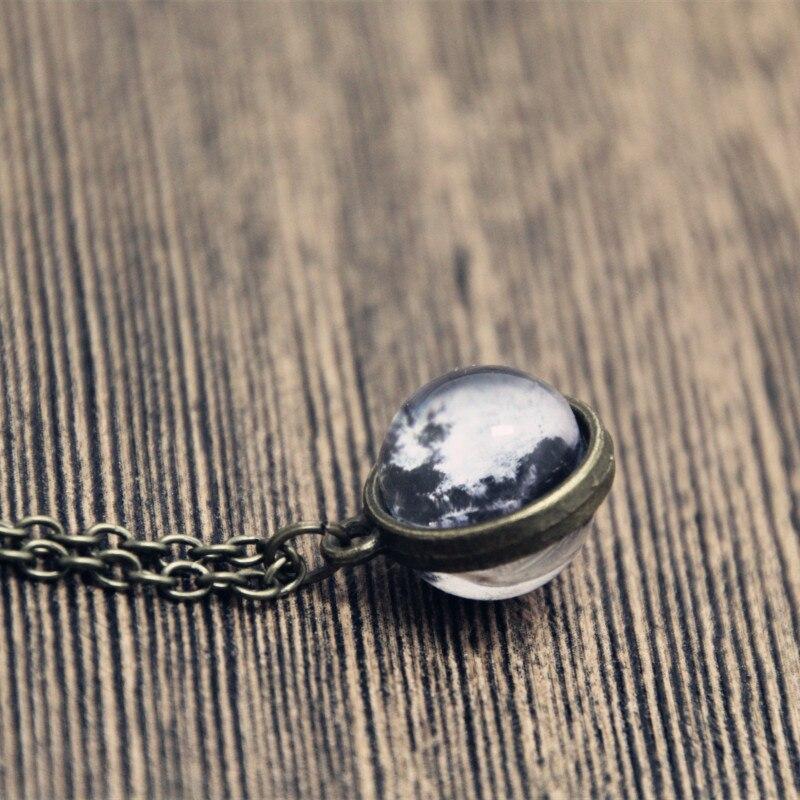 12 pçs lua colar, lua minúscula colar, 2 lados lua de vidro cabochão colar, jóias de declaração, moda feminina colar