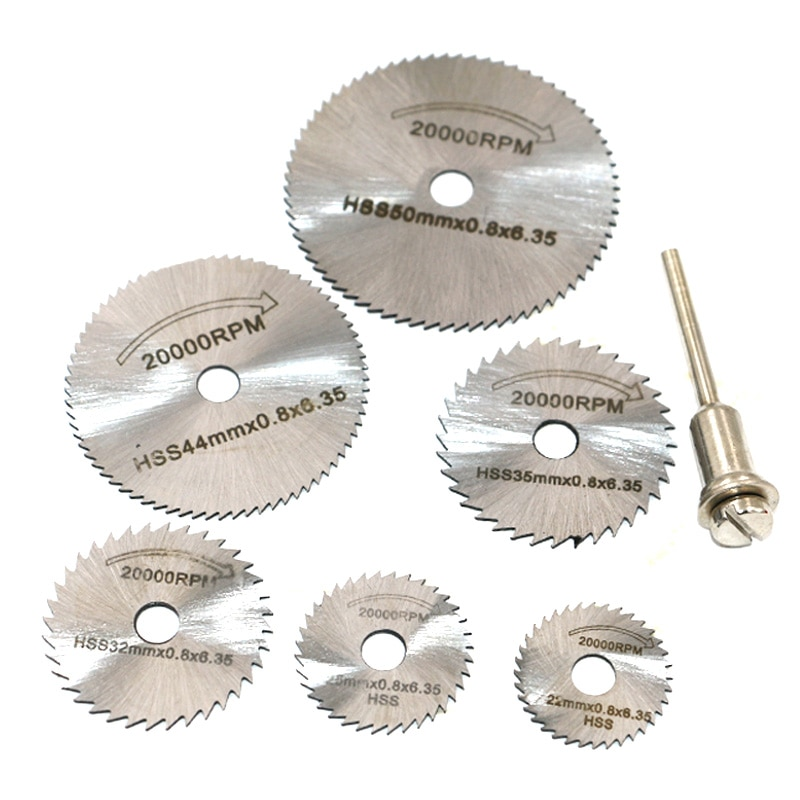 New Portable Rotary Tool Circular Saw Blades Cutting Discs Mandrel For Dremel Cutoff QST7pcs