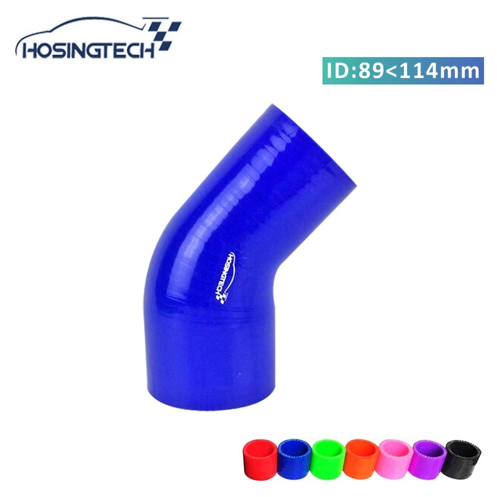 "HOSINGTECH-זיהוי 114 מ""מ עד 89 מ""מ (4.5 ""-3.5"") כחול רכב 45 תואר סיליקון צינור מפחית"