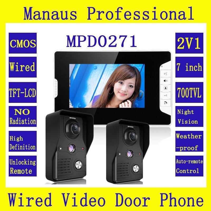Preto 7 polegada TFT Ecrã a Cores Vídeo Porteiro Campainha Kit 2-1 câmeras de Visão Noturna-monitor 2V1 interfone Interfone Sistema D271