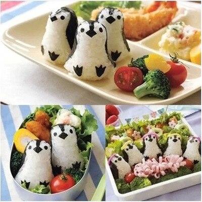 Pinguim bonito Ternos Molde Bolas de Arroz Molde Arroz Kimbap Sushi DIY Ferramentas Bento