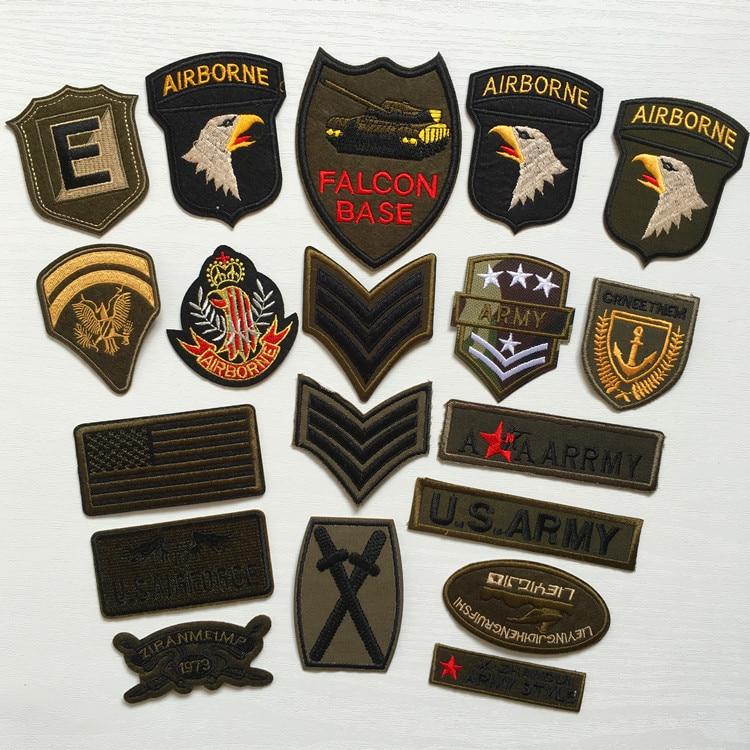 Super qualidade 9 pçs mix militar motivo conjunto bordado remendos para roupas costurar ferro em roupas emblema remendo do exército apliques