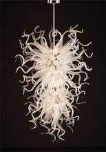 현대 화이트 손으로 불어 유리 아트 장식 led 크리스탈 체인 샹들리에 거실