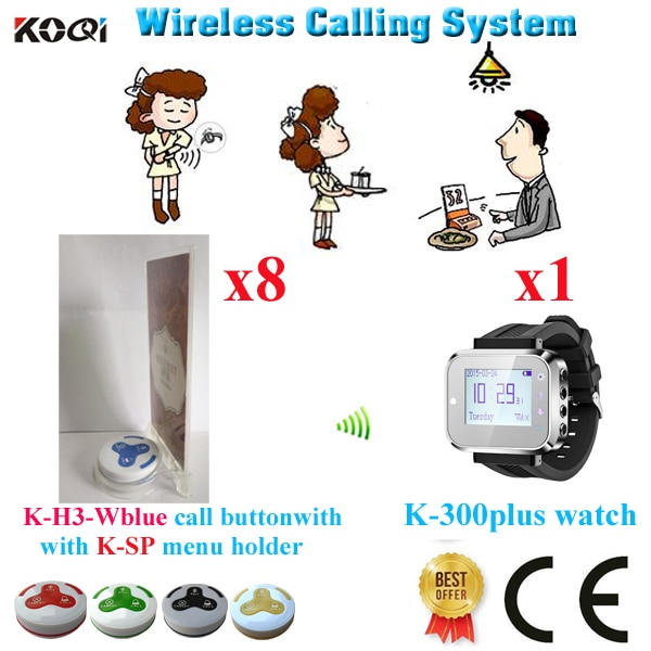 Wireless Waiter Paging System Superior Quality For Restaurant For Service Call(1 watch+8 button+8 menu holder)