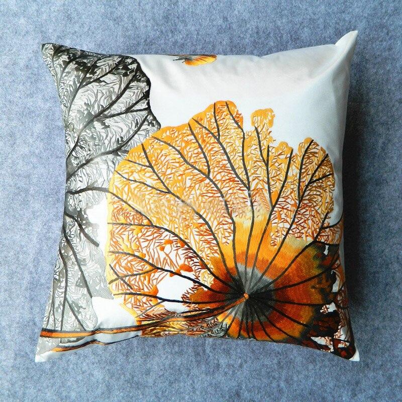 Travesseiro bordado terminou seda/travesseiro Continental sala de Campânula/fronhas bordadas de seda Ouro