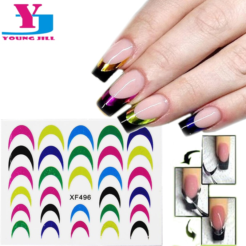 10Pcs/lot Fashion Mix Metallic Style Colorful Smile Strip Line French Stickers Salon Acrylic DIY Design Decals Nail Art Manicure