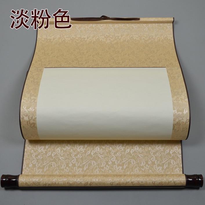 Papel de pintura chino enmarcado rollo de caligrafía en blanco cuatro pies cuatro precisión montado vertical seda 02