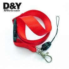 Rouge couleur unie lanière porte-clés collier Mobile cellule support pour téléphone ID Badge titulaire cou sangles 12 pcs/lot en gros livraison gratuite