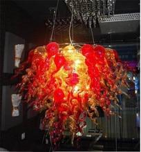 Nouveauté verre de Murano rouge et ambre Mini lustre meubles décoratifs pour la maison