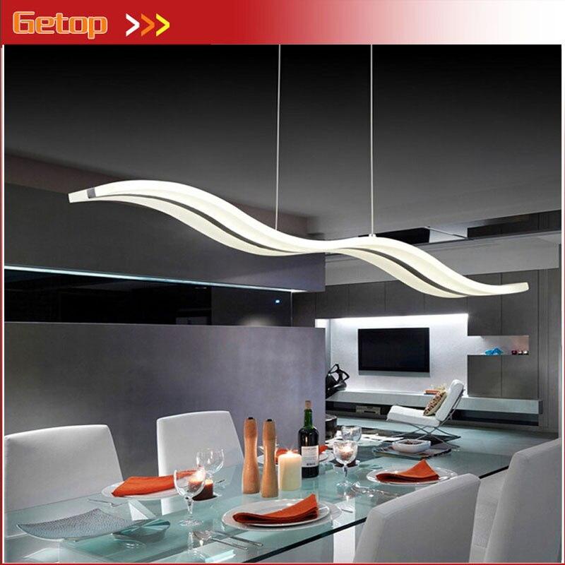 ZX moderno acrílico LED lámpara colgante arte onda rectángulo LED Chip suave accesorios de luz para comedor Foyer escenario café lámpara de oficina