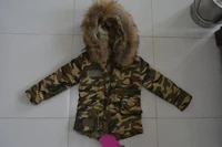 small camouflage with real rex rabbit fur lining for kids warm winter jackets