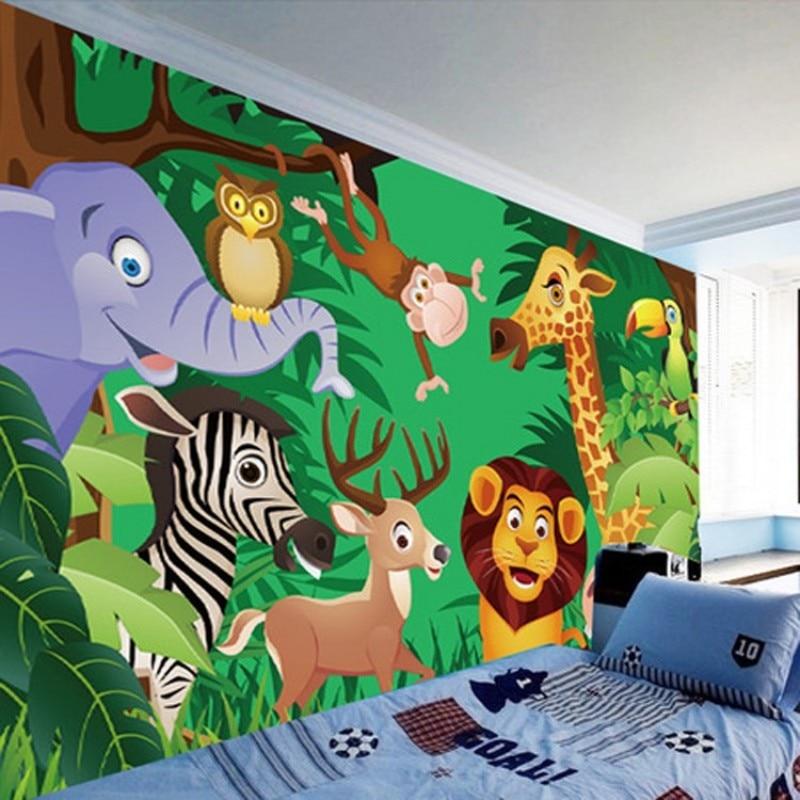 Beibehang مخصص 3 د غرفة الأطفال خلفية غرفة نوم الأطفال الكرتون خلفية حديقة الحيوان للجدران 3 د