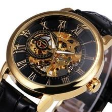 FORSINING 3d Logo Design gravure creuse boîtier en or noir squelette mécanique hommes montres Heren bracelet en cuir Heren Horloge