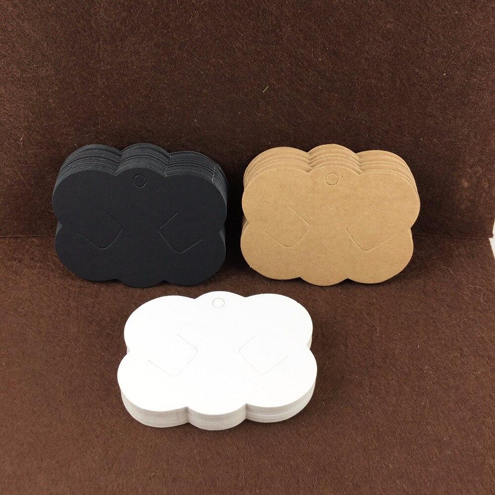 Envío Gratis 400 Uds. Tarjeta para horquilla de papel Kraft en blanco Clip para el pelo joyería festoneado Cardstock tarjetas de exhibición de pelo aceptar logotipo personalizado