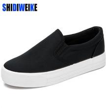SHIDIWEIKE Canvas Shoes Hot Sale 2020 Fashion Appliques Slipony Women Footwear Height Increase Girl Female Comfort Slipon  b642