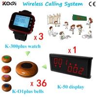 Service Paging System Ycall K-236+K-300plus-red+K-O1plus-black Wireless Restaurant Buzzer