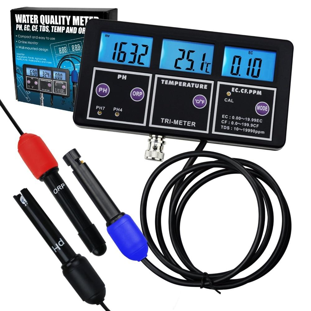 مقياس اختبار pH/ ORP/ EC/ CF/ TDS PPM احترافي ، مقياس درجة الحرارة كومبو ، الأفضل في حوض السمك ، Spas ، المختبر ، 6 في 1