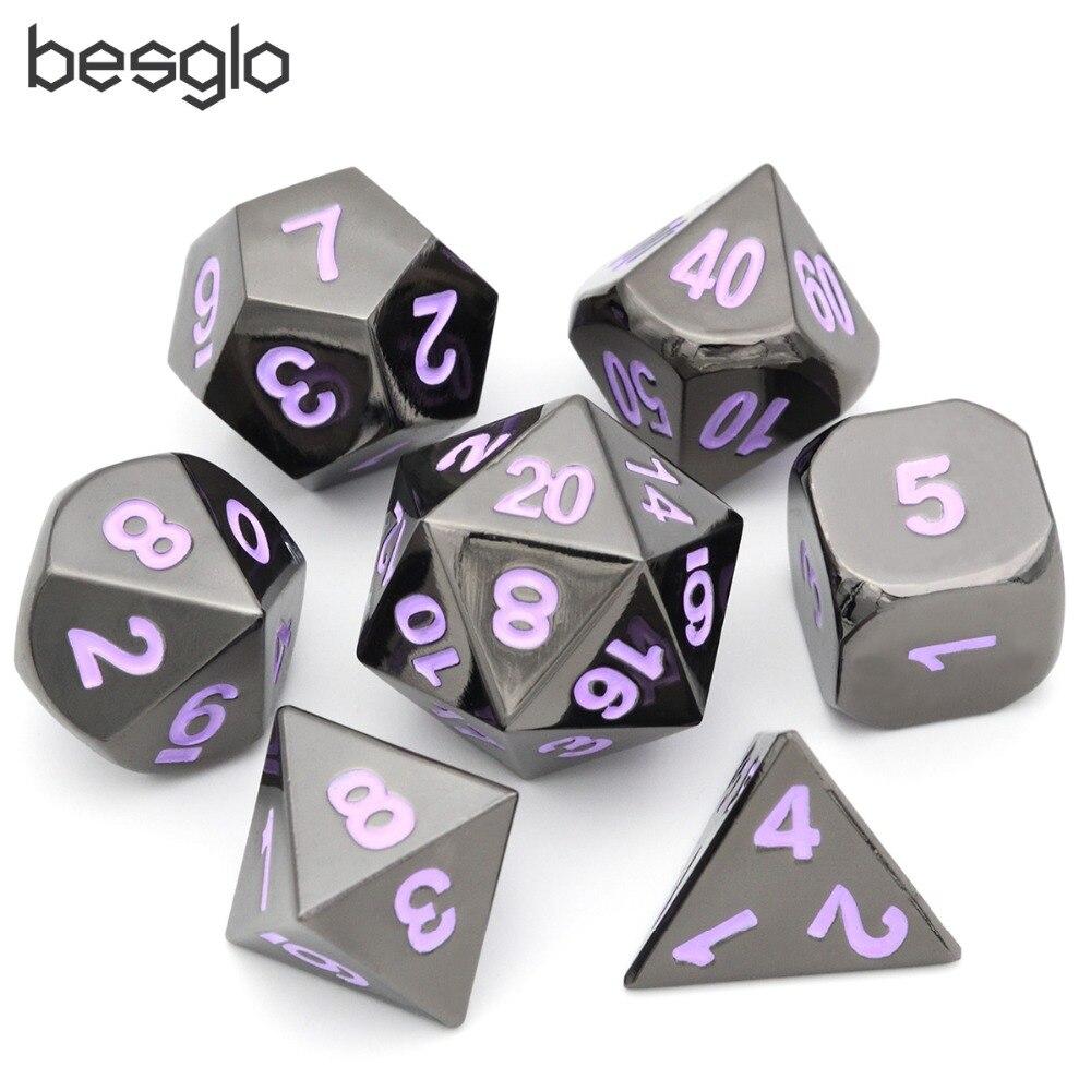 Juego de rol de Metal cromado negro con números morados y bolsa de terciopelo para DND RPG MTG enseñanza de matemáticas