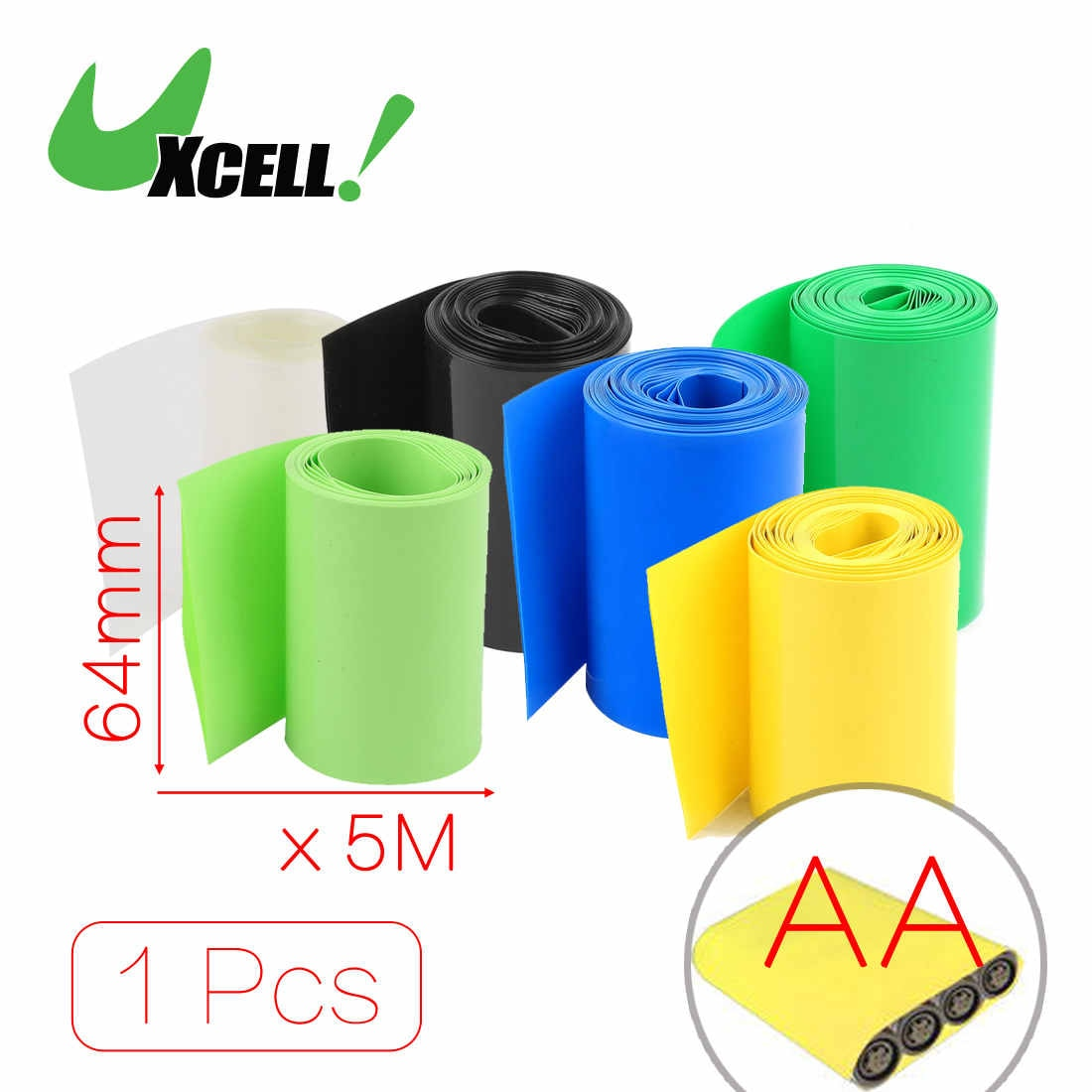 Термоусадочная трубка Uxcell, 5 метров, ширина 64 мм, ПВХ, желтая, для аккумуляторной батареи Aa, черная, синяя, прозрачная, зеленая, желтая
