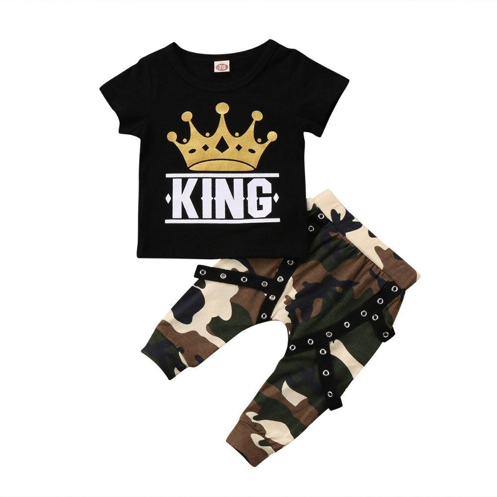 Детская футболка с короткими рукавами и принтом «King», комплект из 2 предметов: Топ и камуфляжные штаны, одежда для маленьких мальчиков