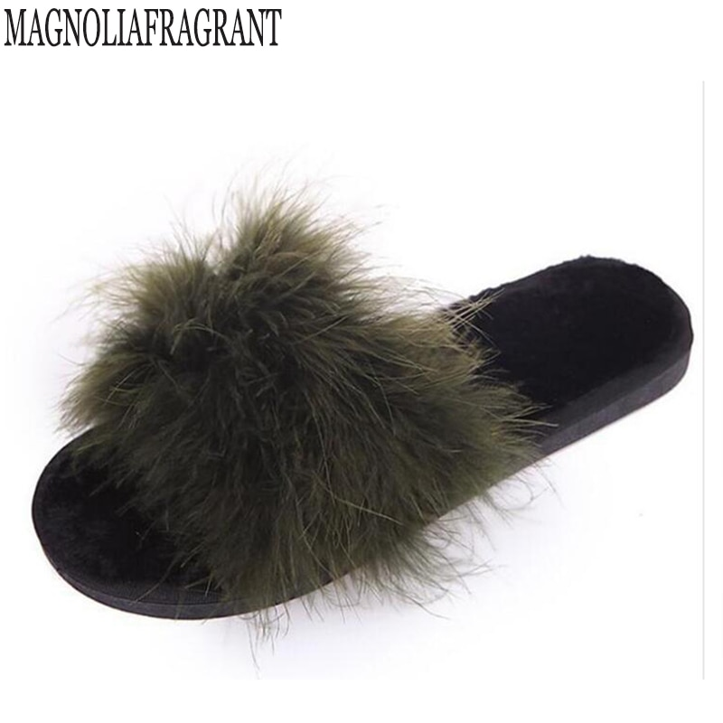 Real pele chinelos de cabelo de avestruz mulher flip flops plataforma casa slides arco de seda designer flip flops mulher pele pompom mulas pele