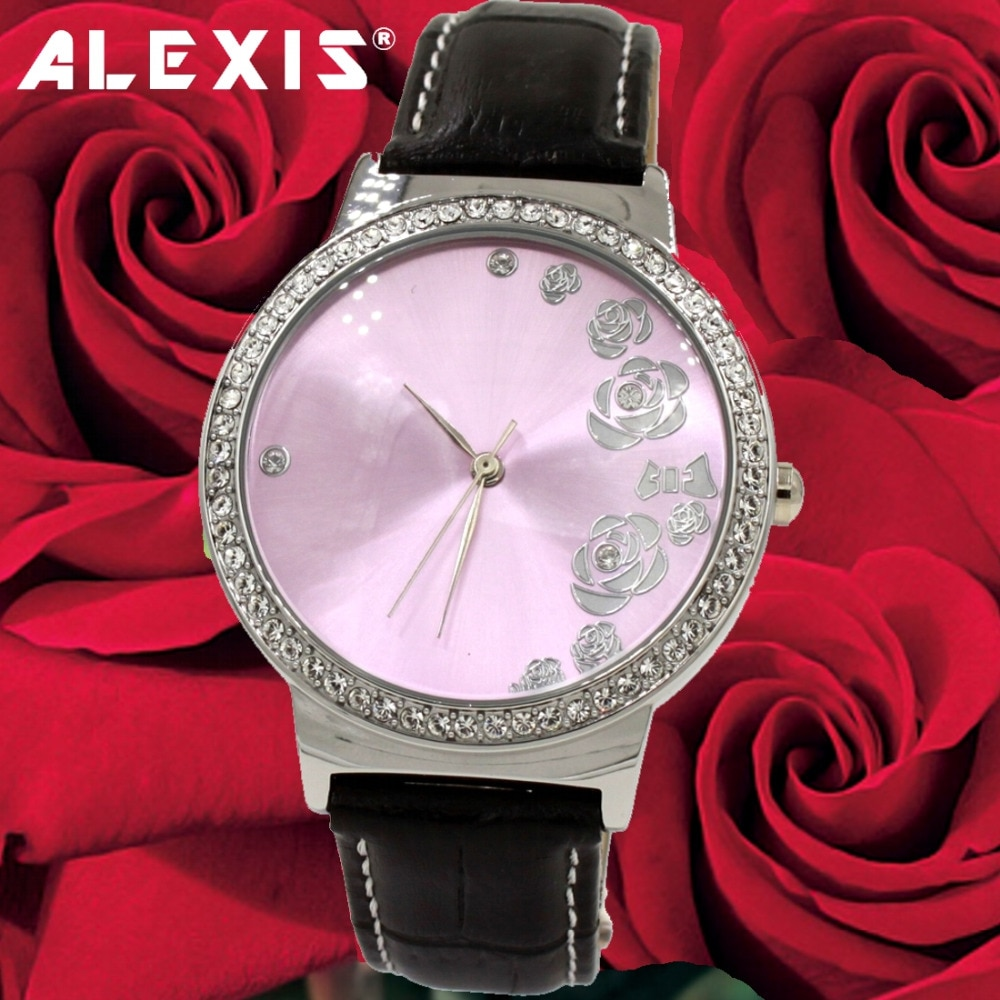 Cowhide leather strap with precious crystal quartz watch, waterproof, durable, beautiful, for your love, every day