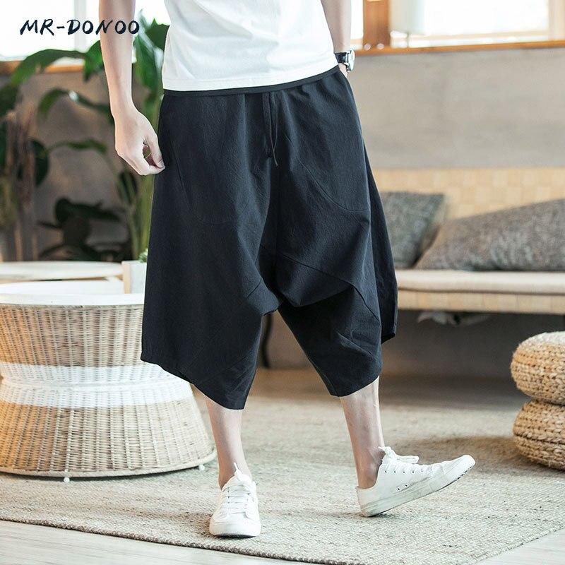 Pantalones MRDONOO para hombre, pantalones bombachos anchos para hombre, pantalones bombachos holgados de pierna ancha, estilo chino Flaxen holgado
