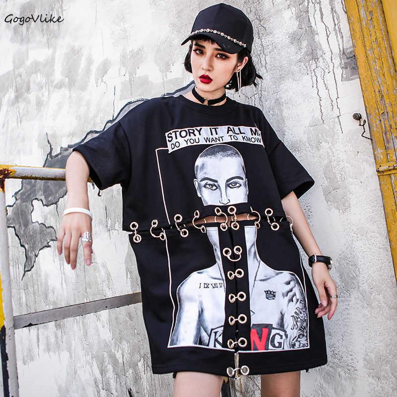 2020 métal anneau femmes T-Shirt été coton femmes Kpop coréen lâche creux Hip Hop Punk Style T-Shirt Style décontracté lettre hauts S50