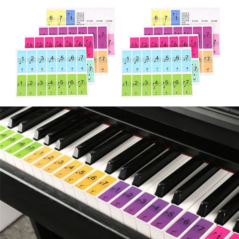 51/61/88 llaves pegatina de piano de calcomanía sobre música etiqueta, calcomanía de nota teclado electrónico de 88 pegatinas para piano