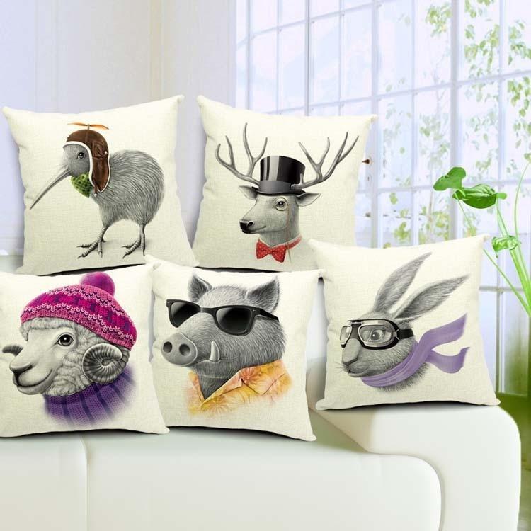 Gran oferta de cojín de venado con estampado de animales, Kiwi, pájaro, liebre, oveja, jabalí, almohadas cuadradas, cojín decorativo de lino de algodón para asiento 45x45cm