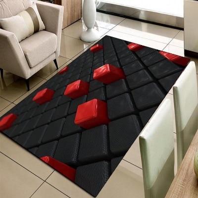Cajas de cubos negros y rojos con estampado geométrico 3d, alfombra lavable de área moderna decorativa para sala de estar de microfibra antideslizante