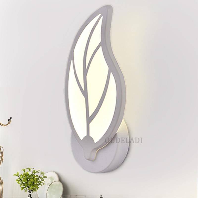 Modern Iron led wall lamps living room aisle Sconces tree leaf style home decor Acrylic wall light AC85-265V Night Light