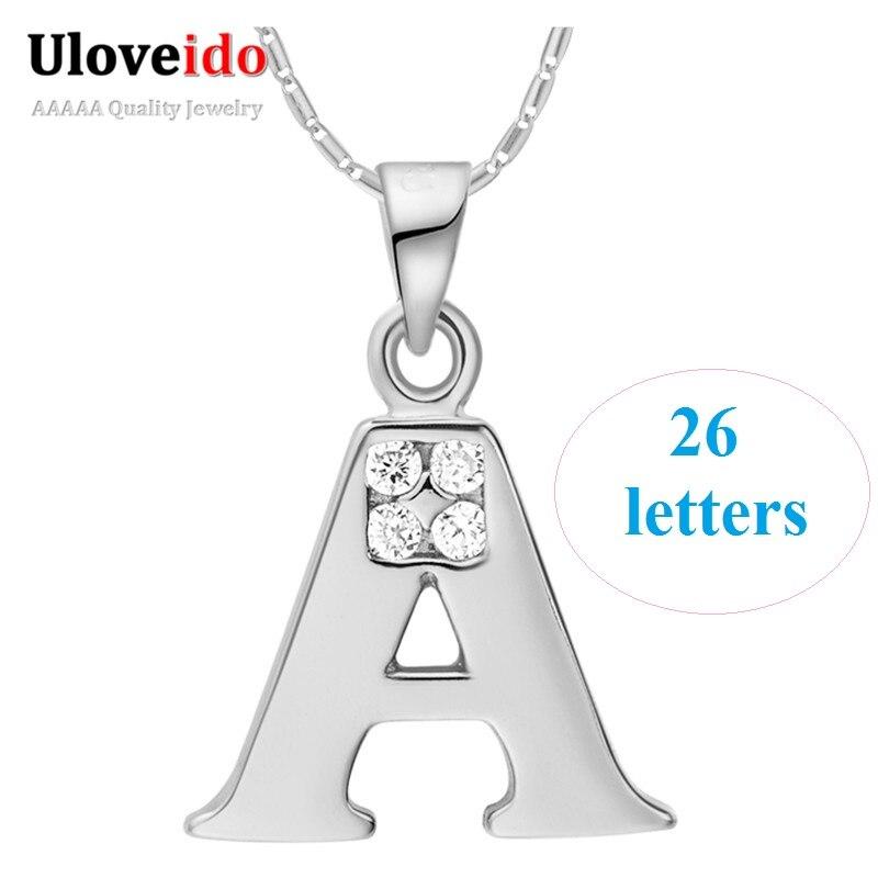 26 буквы A B C D E F G H I J K L M N O P Q I S T U V W X Y Z подвески с цепочкой украшения для женщин подарок ожерелье женские кулоны дружбы колье с камнями кулоны ...