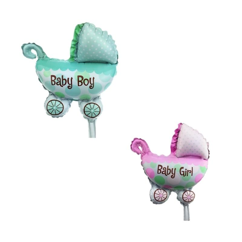 8 uds, Mini cochecito de bebé, globos de aluminio, cochecito de bebé, globos de automóvil para Baby shower, decoraciones de 1er cumpleaños, globos de fiesta
