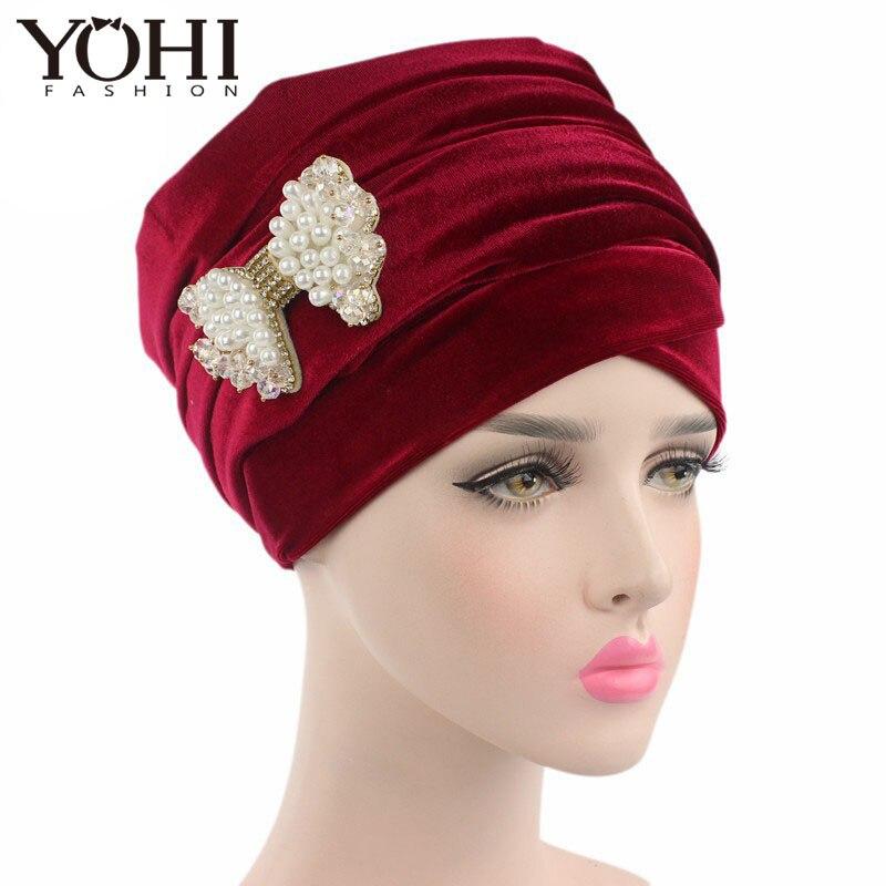 New luxury hijab velvet Turban Head Wrap Extra Long Turban Headwrap Tie with pearl bowknot brooch fo