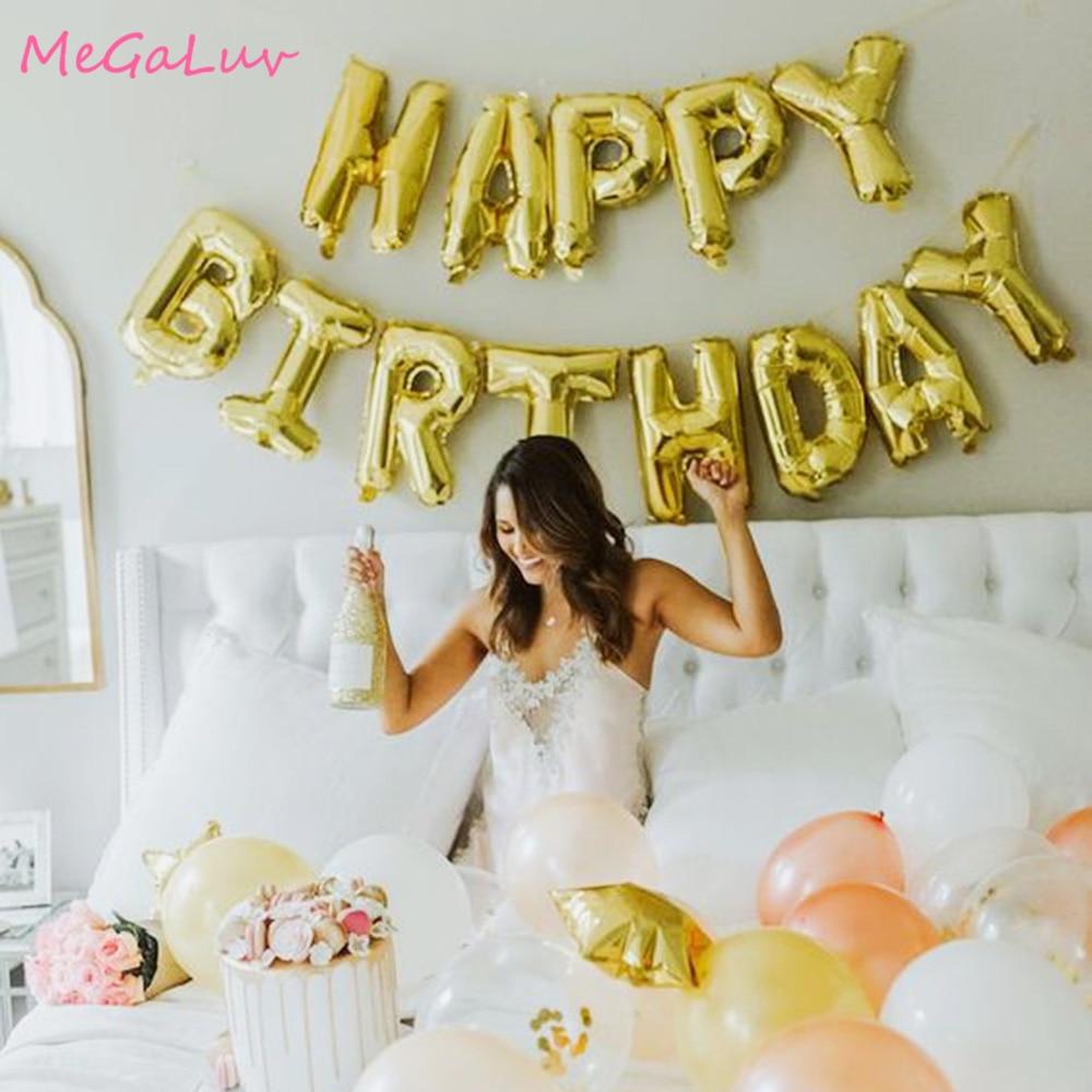 1set Gold Happy Birthday Letter Balloons 16inch Alphabe Foil Balony  Baby Shower 1st Birthday Decoration Adult Kids Helium Globo