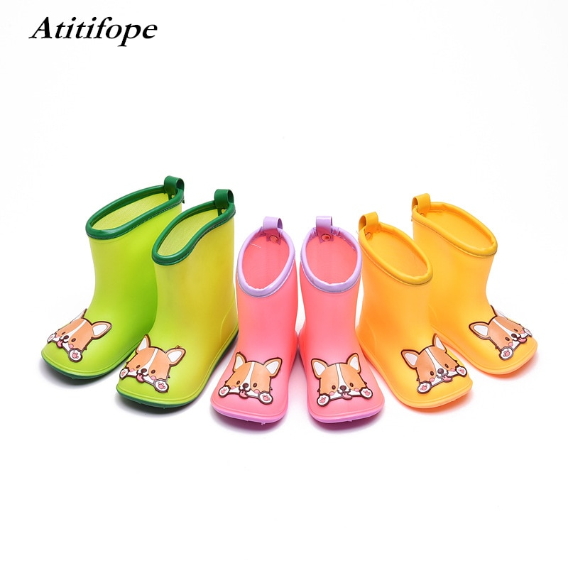 Kids rain boots Non-slip Rubber Rain Shoes Children Spring Autumn Winter Waterproof Cartoon panda dog Rainboots