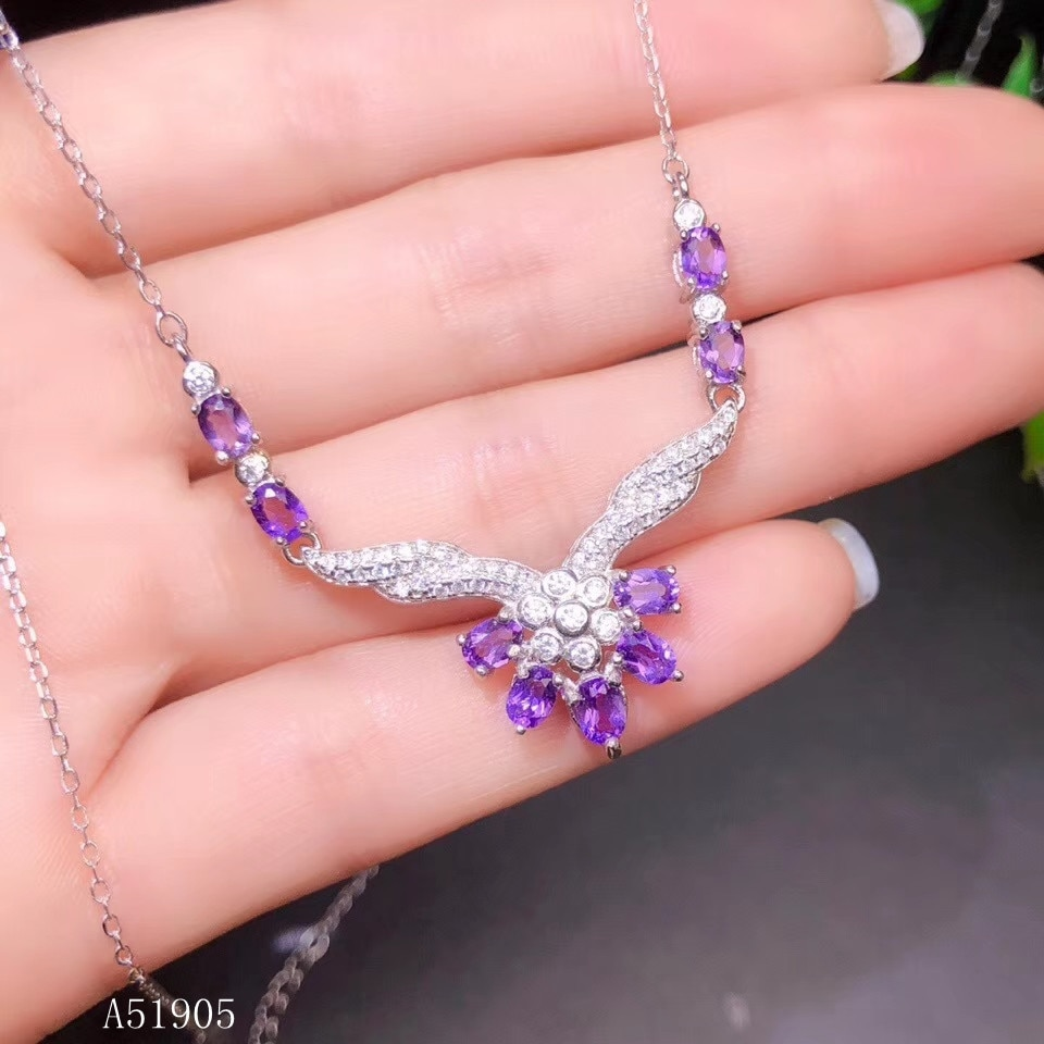 KJJEAXCMY boutique jewelry 925 sterling silver inlaid natural amethyst gemstone female luxury necklace support detection