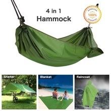 Hamac de Camping multifonction, 4 en 1 hamac de Camping en plein air-hamac imperméable multifonction bâche de tente de mouche de pluie, poncho de pluie