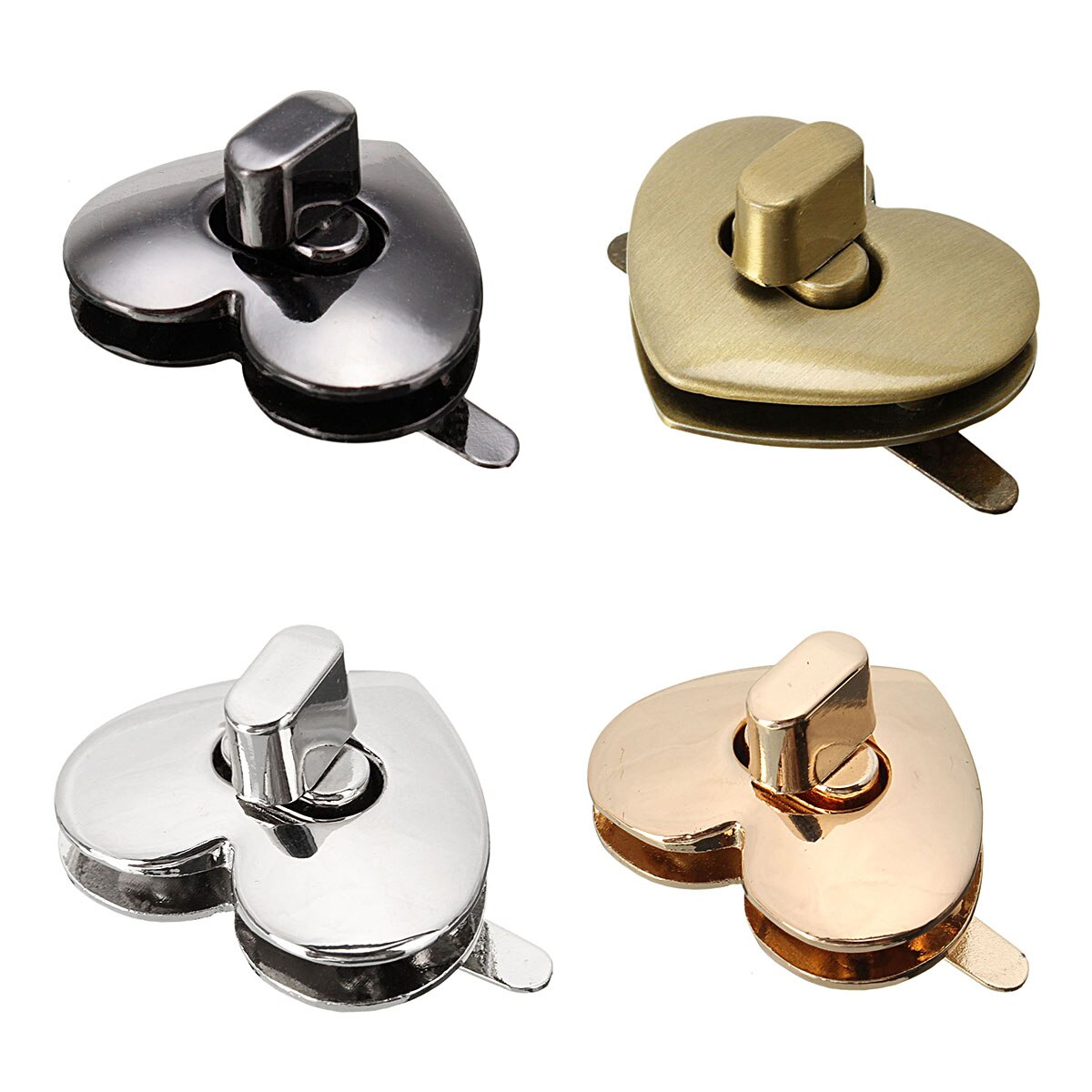 AEQUEEN 32mm X 28mm Cute Heart Shape Clasp Bronze Tone DIY Purse Snap Clasps Closure Lock Trunk Lock Replacement Bag Accessories