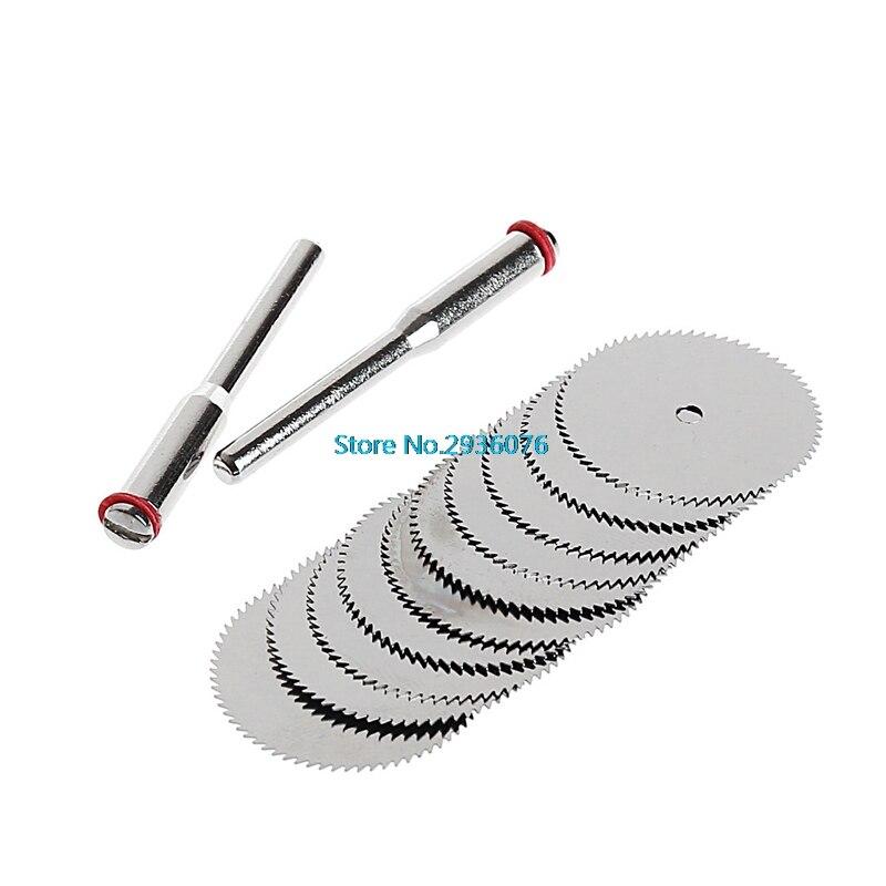 12PCS/SET Wood Saw Blade Disc + 2 x Rod Dremel Rotary Cutting Tool 10 x 22mm MAR15_0