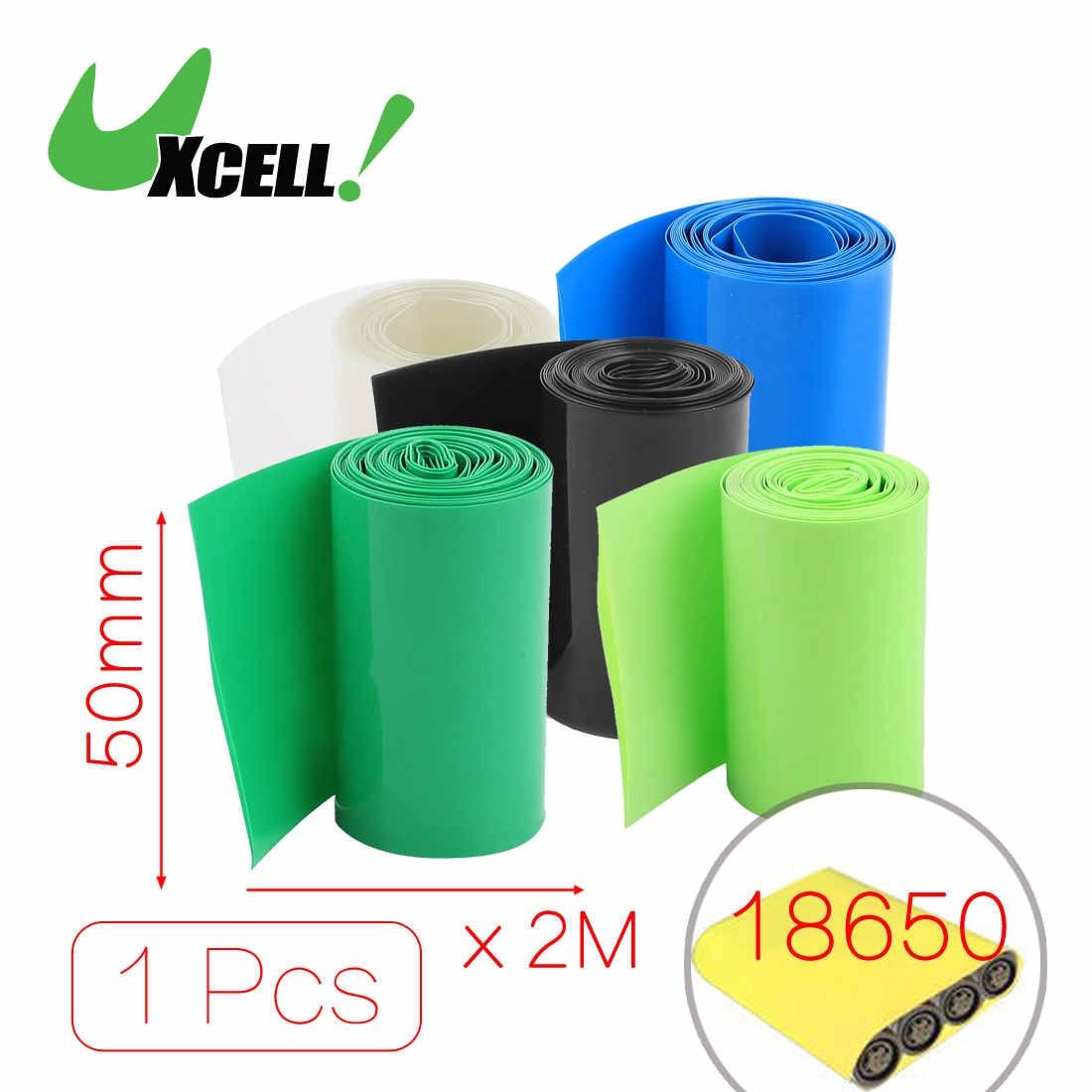 Термоусадочная трубка Uxcell, 2 метра, ширина 50 мм/56 мм, ПВХ, синяя, для батарей 2X18650, черная, синяя, прозрачная, зеленая