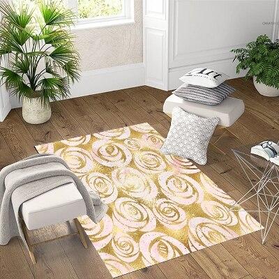 آخر الذهبي الأصفر الورود الزهور هندسية ثلاثية الأبعاد طباعة عدم الانزلاق ستوكات غرفة المعيشة ديكور الحديثة قابل للغسل منطقة البساط حصيرة