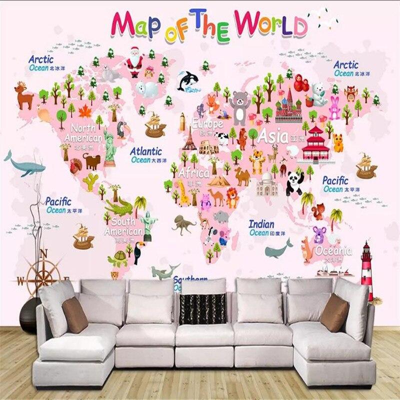 Пользовательские 3d обои мультфильм карта мира детская комната фон стены-высококачественный водонепроницаемый материал