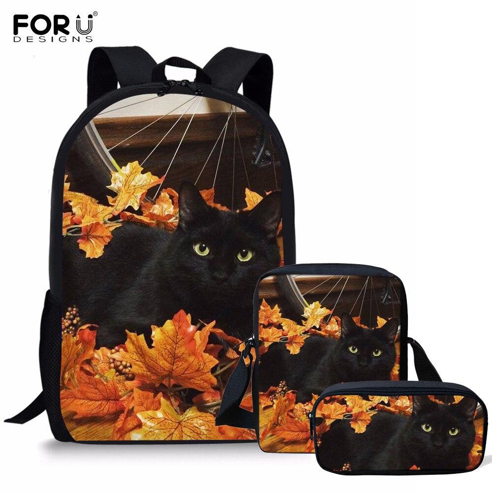 FORUDESIGNS, 3 unids/set, mochila escolar con estampado de gato negro de otoño para adolescentes, mochila ortopédica para estudiantes, Mochilas