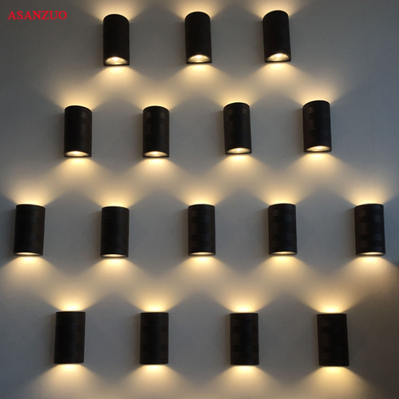 Lámpara LED COB de 10W para exterior, lámpara cuadrada semicircular impermeable arriba y abajo, luz de pared, balcón, jardín, IP65, AC85-265V de iluminación exterior