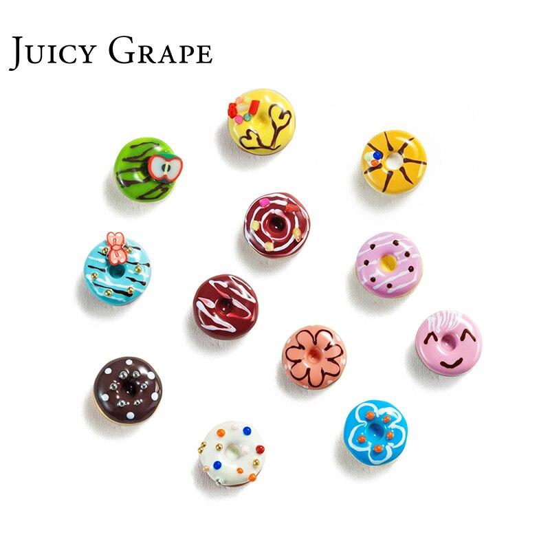 Juicy Grape, recién llegado, pendientes esmaltados pintados a mano, de cobre dorado, 925, aguja de plata, pendientes de tuerca de donut dulce