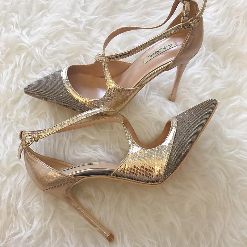 O envio gratuito de moda mulheres Bombas Criss Cross-Gold Glitter snak toe Pointy salto alto sapatos size33-43 12 cm 10 cm 8 cm sapatos de festa