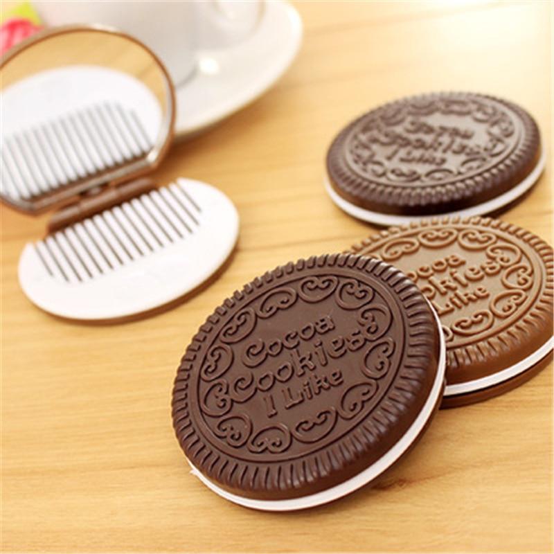 Cosmético de Chocolate com Pente Lote Espelho Doce Feminino Maquiagem Bolso Mini Espelhos Portátil Agradável Presente 16 pc –