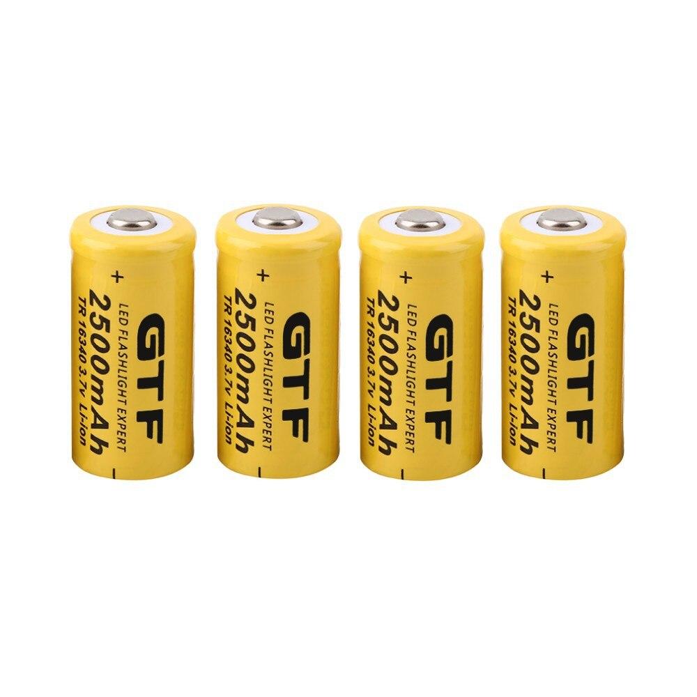 GTF 4 قطعة العالمي 16340 2500mAh 3.7 فولت بطاريات ليثيوم أيون قابلة للشحن للمصابيح الأمامية